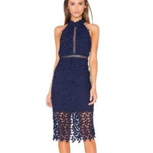 Bardot Bodycon Lace Midi Dress